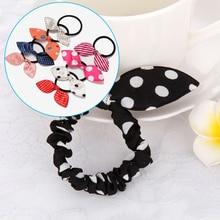 Color Random 10Pcs/lot Children Hair Band Cute Polka Dot Bow Rabbit Ears Headband Girl Ring Scrunchy Kids Ponytail Holder A