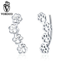 2018 VOROCO Pure 925 Sterling Silver Lovely  Earings Paw trail  Earrings For Women Wedding Party Cute Female Jewelry  GXE430