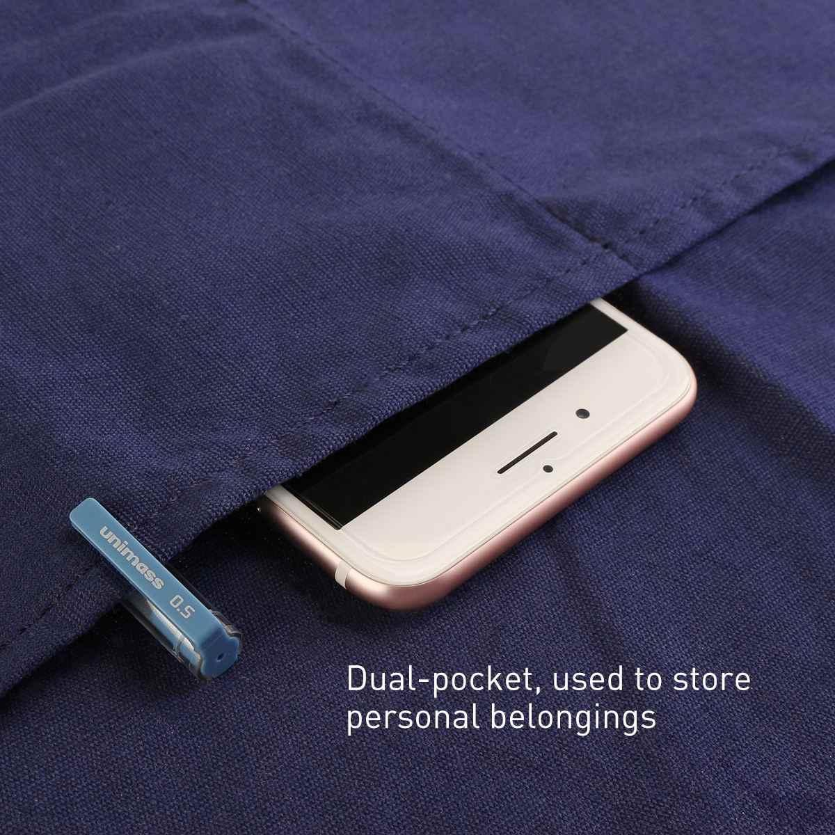 UEETEK قابل للتعديل الرقبة حزام المريله المئزر مع 2 جيوب لمطعم والمنزل المطبخ ساحة (الأزرق)