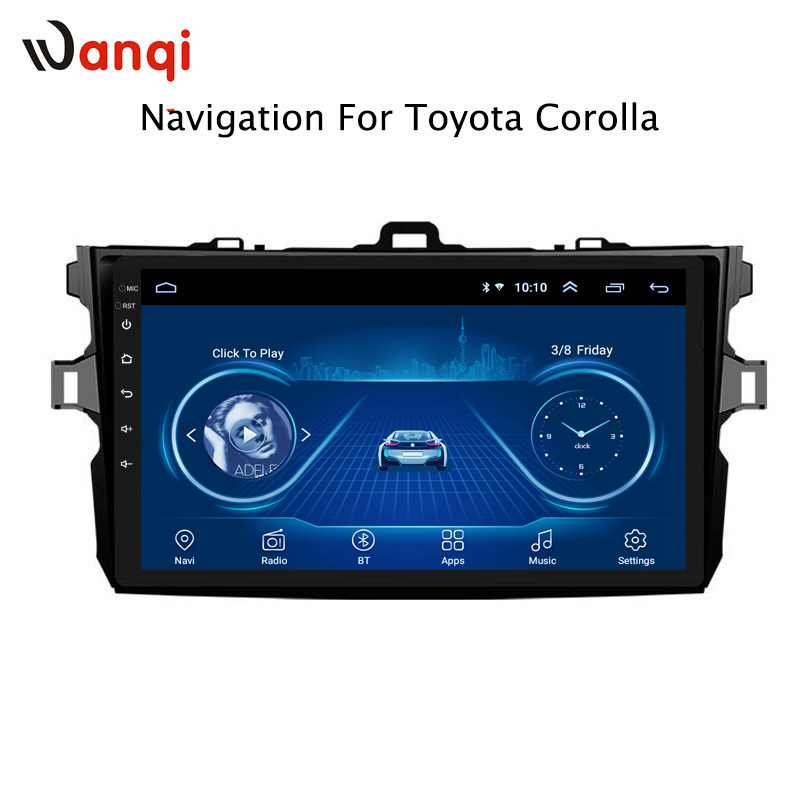 9 Inch Android 8.1 Car Dvd GPS Navigation For Toyota Corolla 2007-2013 With Bluetooth/TV/WIFI/USB/Radio/video