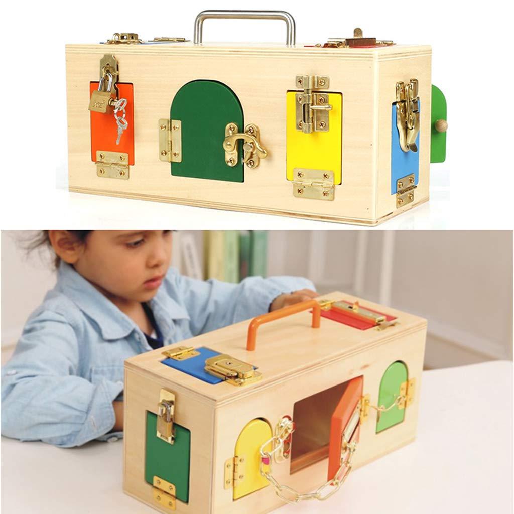 Boîte de verrouillage en bois Montessori clé éducation précoce jouet d'apprentissage préscolaire aides pédagogiques développer le jouet d'intelligence de l'enfant pour les enfants