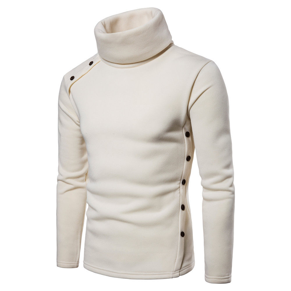 New Men Winter Keep Warm Pullovers Turtlneck Sweater Male Long Sleeve High Collar Button Warmer Slim Sweaters Man Tops Clothes