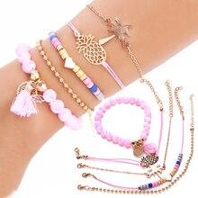 5PC/Set Fruit Bracelet Pineapple Heart Shape Tree Fashion Bead Bohemian Glaming Womens Boutique