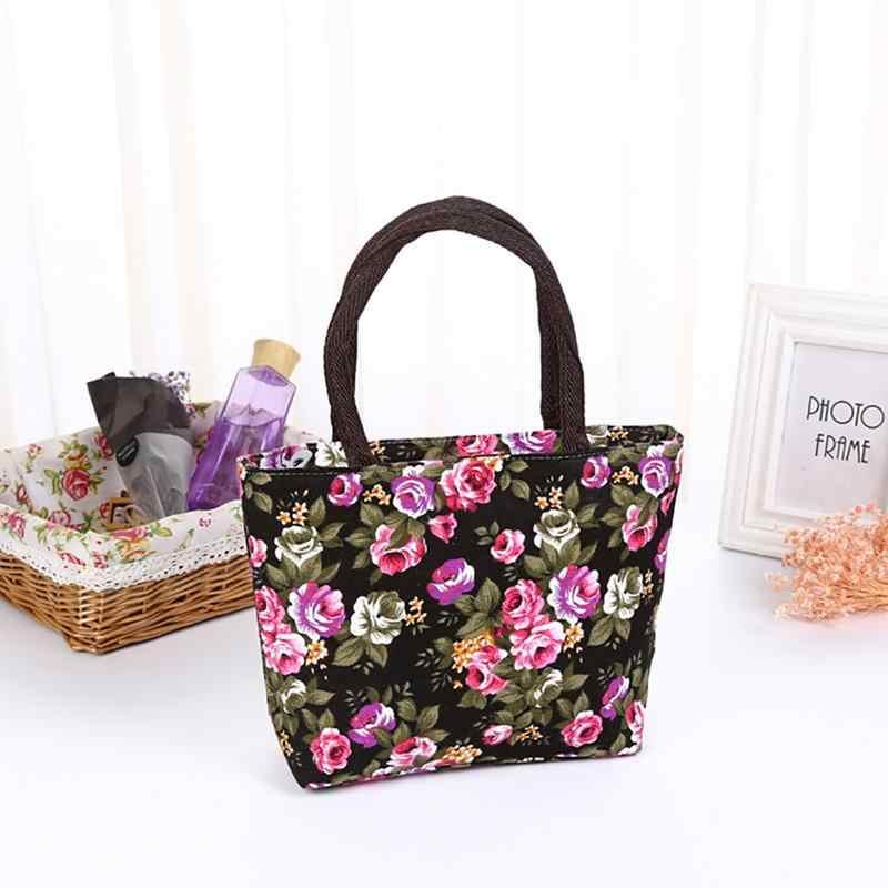Small Floral Flower Print Canvas Bag Handbag Tote For Women Female Ladies  Girls Mini Handbags Totes