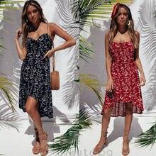 Womens Holiday Strappy Button Dress Ladies Summer Beach Midi Swing Sun Sundress