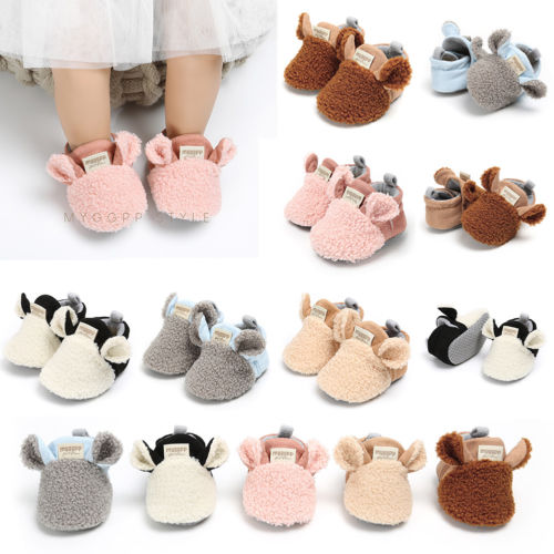 New  Toddler Newborn Baby Crawling Shoes Boy Girl Lamb Slippers Prewalker Trainers