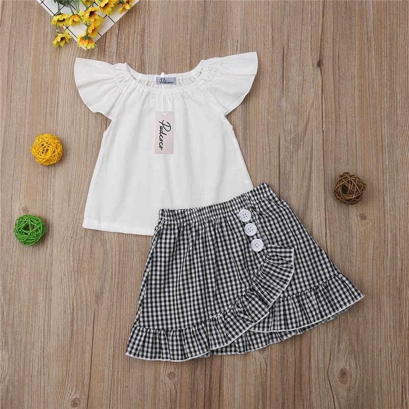 d0904ff13c0 ... Summer Korean Style Kids Baby Girls Clothes Girls Clothing Sets Sleeveless  Blouse+Plaid Skirts Children ...