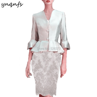 YNQNFS M138 V Neck 3/4 Sleeve Silver Lace Two Piece Mother of the Bride Dresses with Jacket Wedding Guest Dress Party Gown 2019