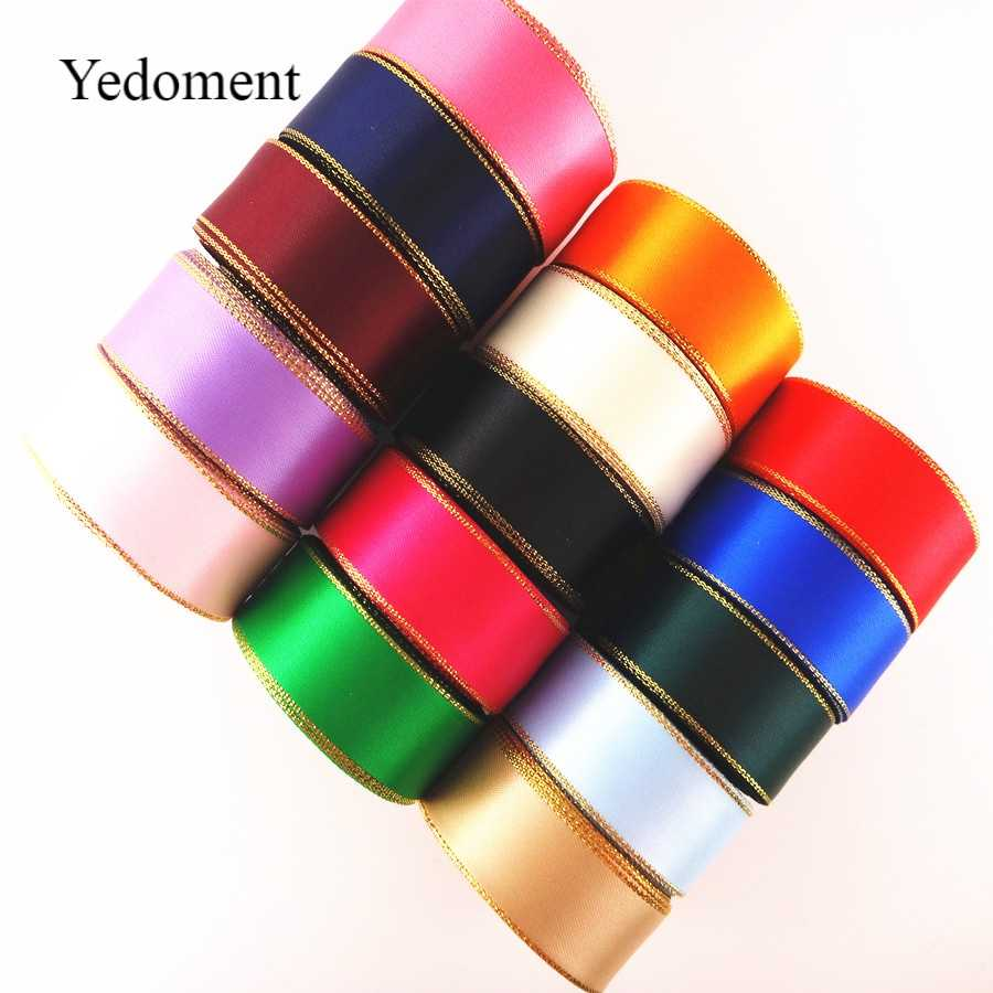 10 yards/lot 10mm/22mm/38mm good quality glitter gold edge satin ribbon gold metallic gift packaging craft ribbon YM17072808