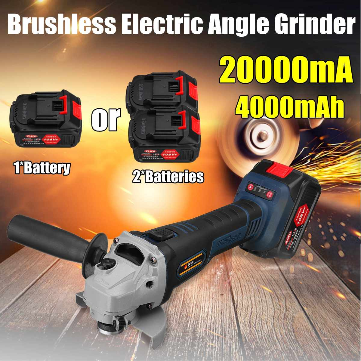 108VF 4000 mah 20000mA Sans Fil Électrique Angle Grinder Polisseuse 110 v ~ 220 v Machine Avec 2 Batterie WrenchTool