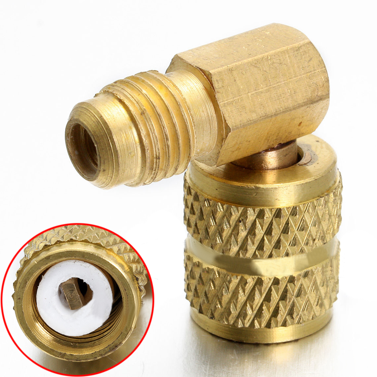 DWZ 1pc Brass <font><b>Auto</b></font> <font><b>AC</b></font> Refrigeration Adapter Connector Adaptor for R410A Gauges Hose image