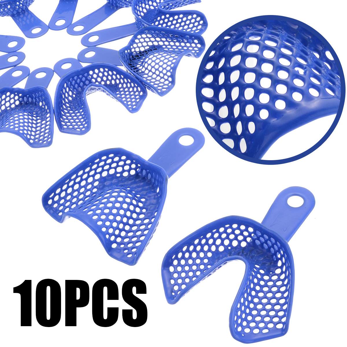 10pcs/Set Plastic-Steel Dental Instruments Dental Impression Trays Blue Mesh Pallets Teeth Holder For Denture Model