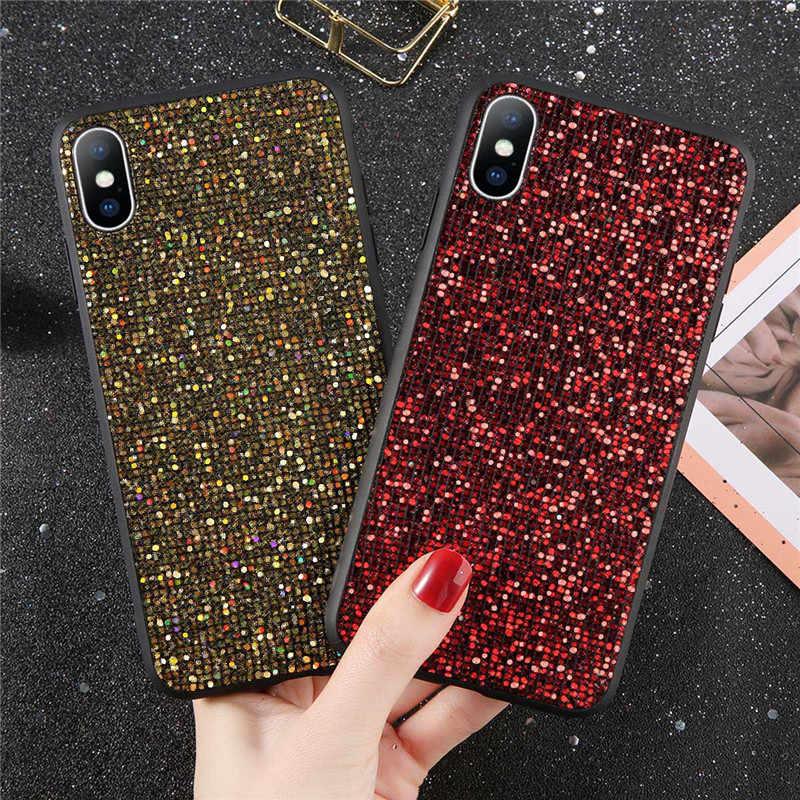 Casos Para iPhone 6 USLION 6 s Além Do Brilho de Bling Lantejoulas Cristal TPU e PC Capa Fundas Para iPhone 7 8 Plus X XS XR XS Max