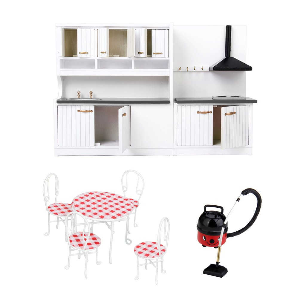 1:12 Scale Dollhouse Kitchen Furniture Vacuum Cleaner Table Chairs Miniature Doll House Accessories Toys Gift for Children Kids