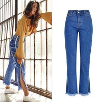 ZOUHIRC New Women Jeans High Waist Side Zip Blue Denim Loose Jeans Jeans Women Pants Tassel Flare Pants Trousers