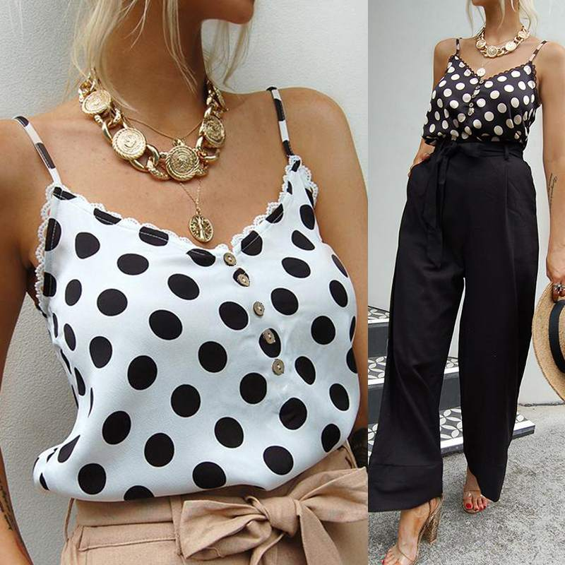 Celmia Women Summer   Tank     Top   2019 Fashion Ladies Sexy Strap V Neck Dot Print Camis Casual Buttons Shirts Plus Size Party   Tops