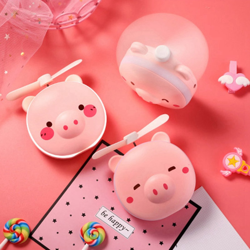 Pig Beauty Portable Led Mirror Pocket Fan Usb Charging Mini Handheld Fan With Mirror Led Light Portable Small Fan in Fans from Home Appliances