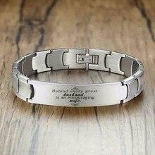 Мужской браслет из нержавеющей стали с лазерной гравировкой серебряного цвета, мужские ювелирные изделия, подарок для жены с 8,46