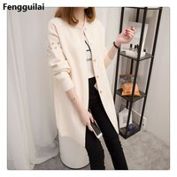 2018 autumn and winter medium long sweater beading rivets female cardigan loose solid O neck sweater top fashion outerwear