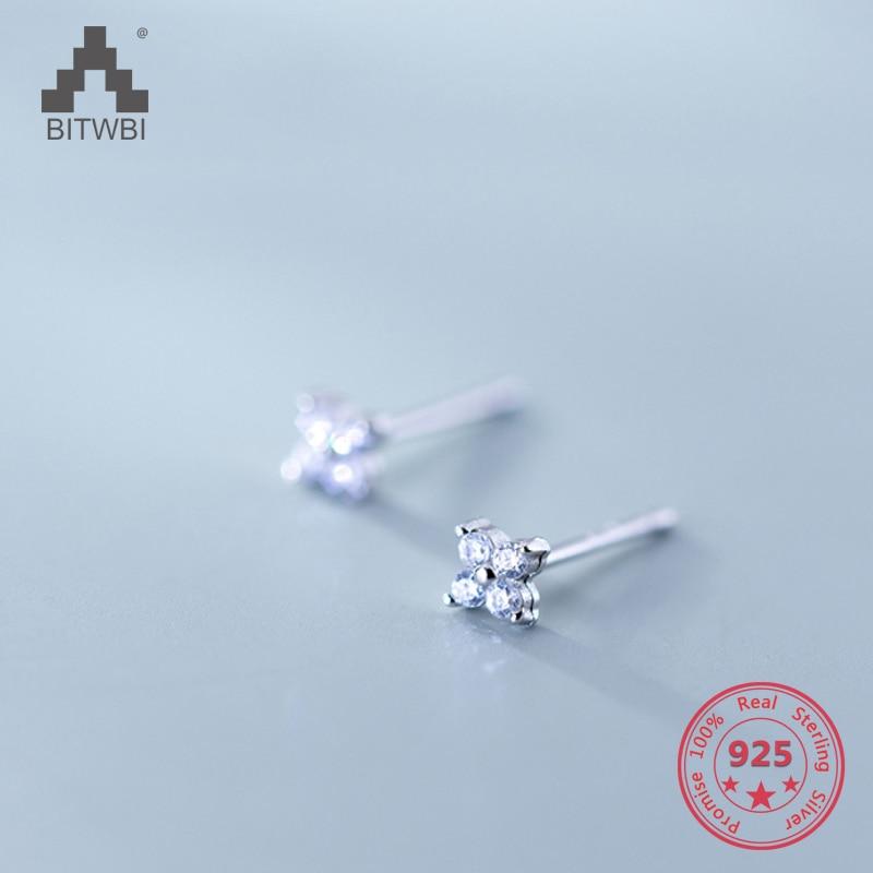 Wholesale Japan Korea Style 925 Sterling Silver Fashion Cute Sweet Zircon Stud Earring Women Jewelry