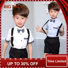 New Summer Children Short Wedding Overall Suits with Bowtie for Boys Kids Performance Suits Boys Formal Suits