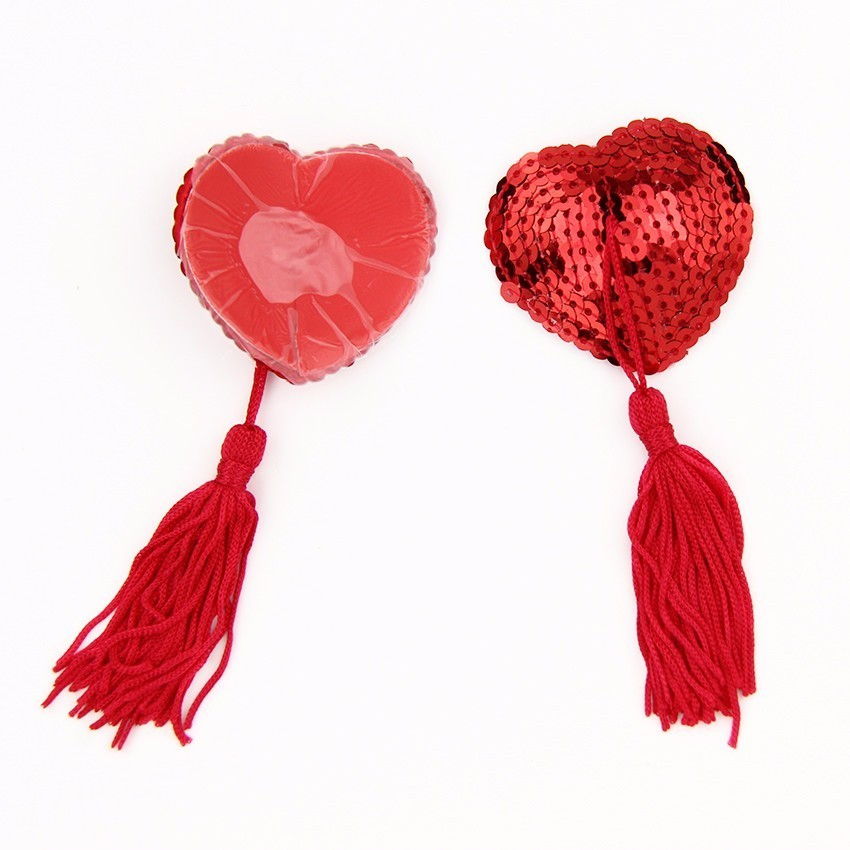 Sexy Sequin Tassel Heart Adhesive Silicone Nipple Cover Pasties Breast Bra Sticker Adult Game Accessories Sm Sex Toy For Women