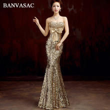 BANVASAC Strapless Sequined Mermaid Long Evening Dresses Elegant Big Crystal Bow Sexy Backless Party Prom Gowns