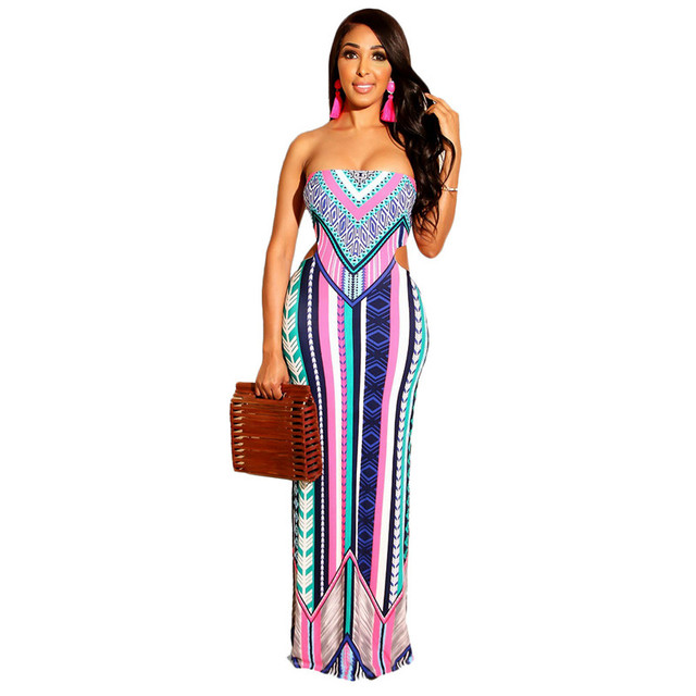 Fashion Stripe Print Strapless Maxi Dress for Holiday Women Sexy Backless Bodycon Long Casual Dresses Summer Beach Wear