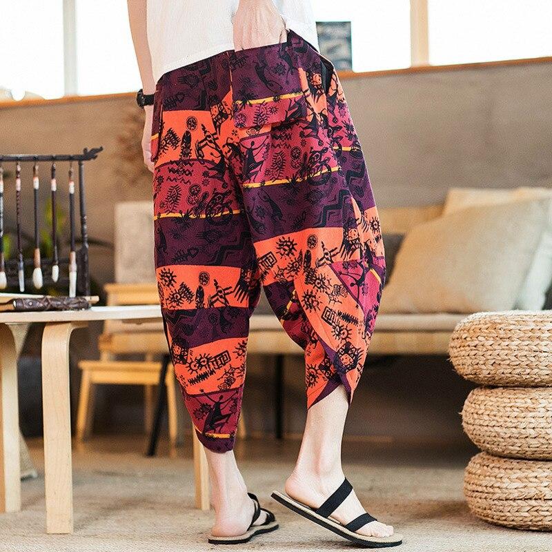 #4536 sommer Vintage Hosen Männer Elastische Taille Kalb-länge Retro Harem Hosen Elastische Taille Lose Plus Größe 5XL breite Bein Hosen