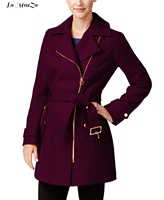 Zippers Wool Coat Casual Wool Blend Coat and Jacket Sashes Women Coats Autumn Winter