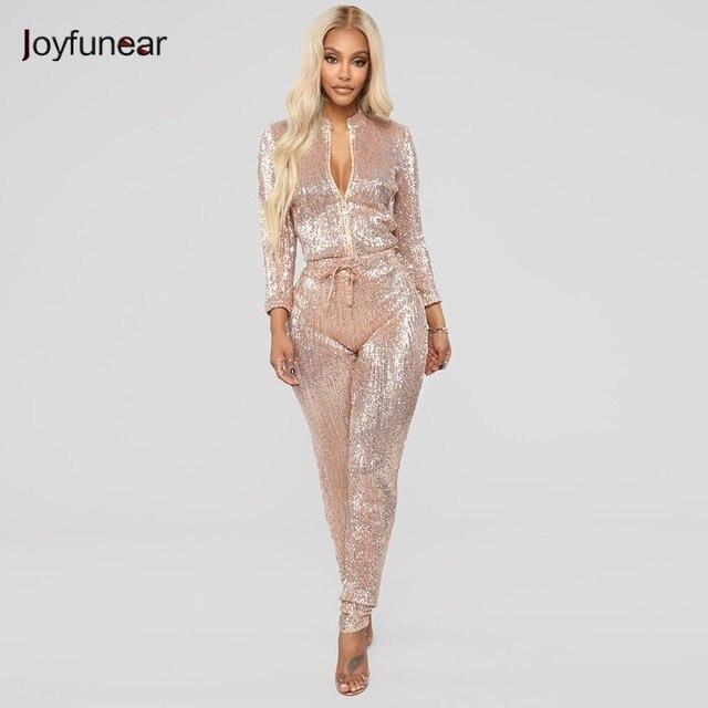 0d41454fe6 Joyfunear Bodycon Jumpsuits For Women 2018 Long Sleeve V Neck Rompers Womens  Jumpsuit Sequin Sexy Bodysuit Mono Mujer Overlls