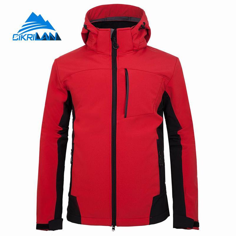 Mens Windbreaker Hooded Sport Fleece Lined Jackets Softshell Outdoor Jacket Men Camping Climbing Hiking Coat Trekking Golf Coats