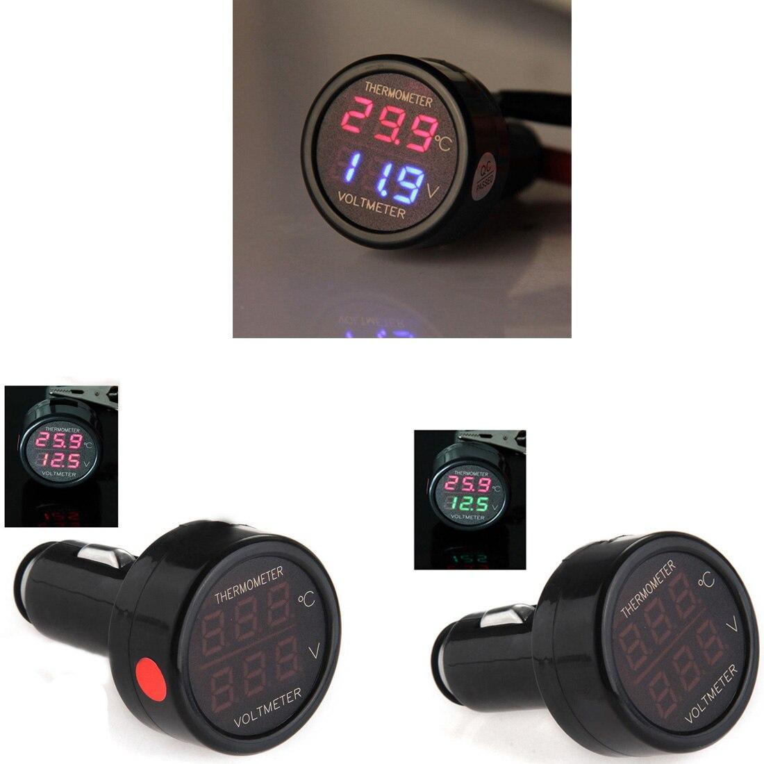 Digital Voltmeter Thermometer 2 In 1 LED Car Cigarette Lighter Applies To 12/24V Universal Car SUV Truck Voltage Meter
