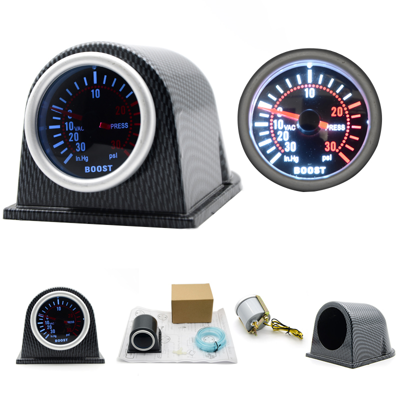 2/52mm Universal Car LED Turbo Boost Gauge Meter Pointer 0-30PSI With Pod