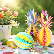 Summer Tropical Party Table Centerpiece Honeycomb Pineapple Shaped For Hawaiian LUAU Beach Decorations Supplies