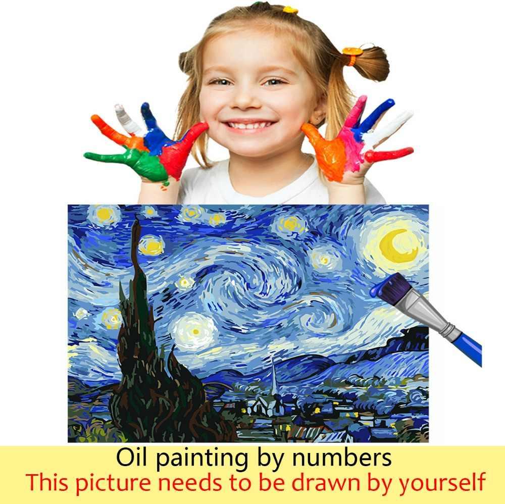 DIY coloraciones imágenes por números con colores paisaje de los bosques de la orilla del río dibujo pintura por números enmarcado hogar