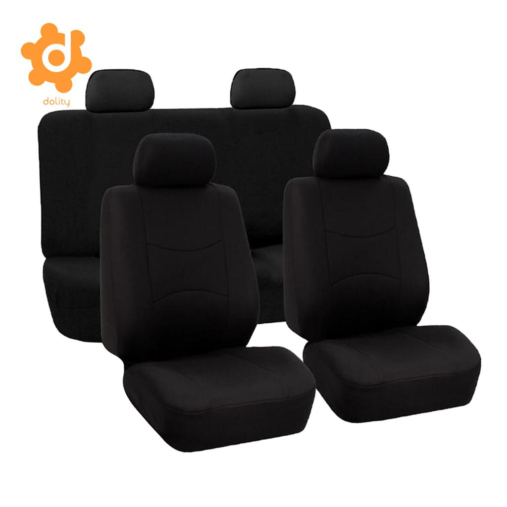 9pcs Car Fabric Front Rear Seat Covers Full Set Cushion Mat Protector Black/Gray/Blue/Red/Beige