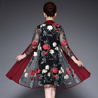 Plus Size M 6XL Floral Embroidery Vintage Dress Middle Aged Women 2019 Summer O neck 3/4 Sleeve Robe Female Dresses Vestidos