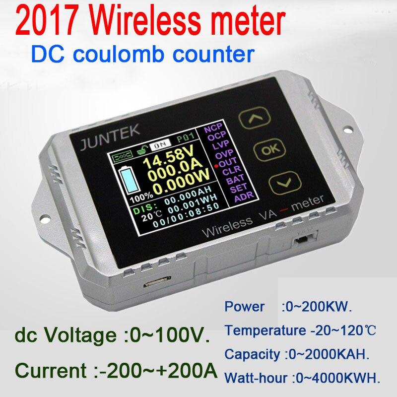 Multimètre DC 100 V 200A compteur numérique température sans fil courant Volt KWh Watt mètre batterie coulomètre capacité testeur de puissance