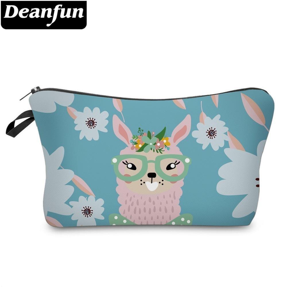 Deanfun Printing Llama Cosmetic Bag Waterproof Makeup Bags Flowers Cosmetics Pouchs Women Travel Organizer  51426