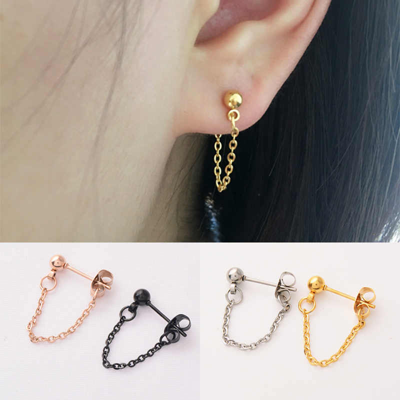 Fashion Golden Rose Golden Silver Chain Jewelry Seaside Earring Gifts Bead Minimalist Simple Black Earrings Valentines Gift
