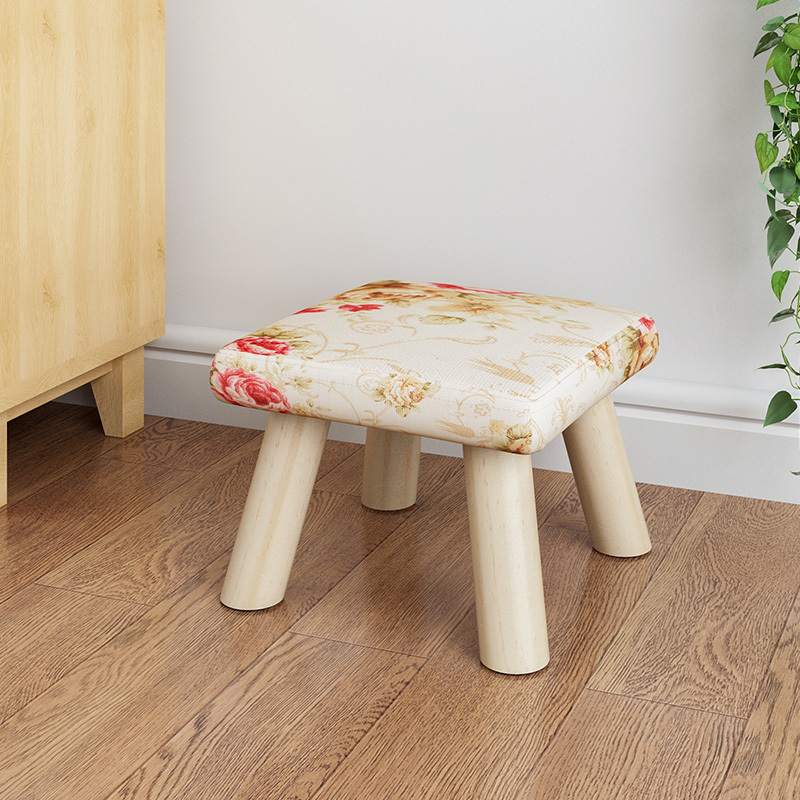 Adult Stool Originality Small Stool Low Stool Solid Wood A Living Room  Fabric Art Household Round Stool