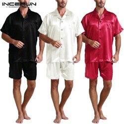 Модный, Шелковый, сатиновый Пижамный комплект для мужчин мягкая пижама одежда для дома и для отдыха топы с короткими рукавами и шорты Для му...