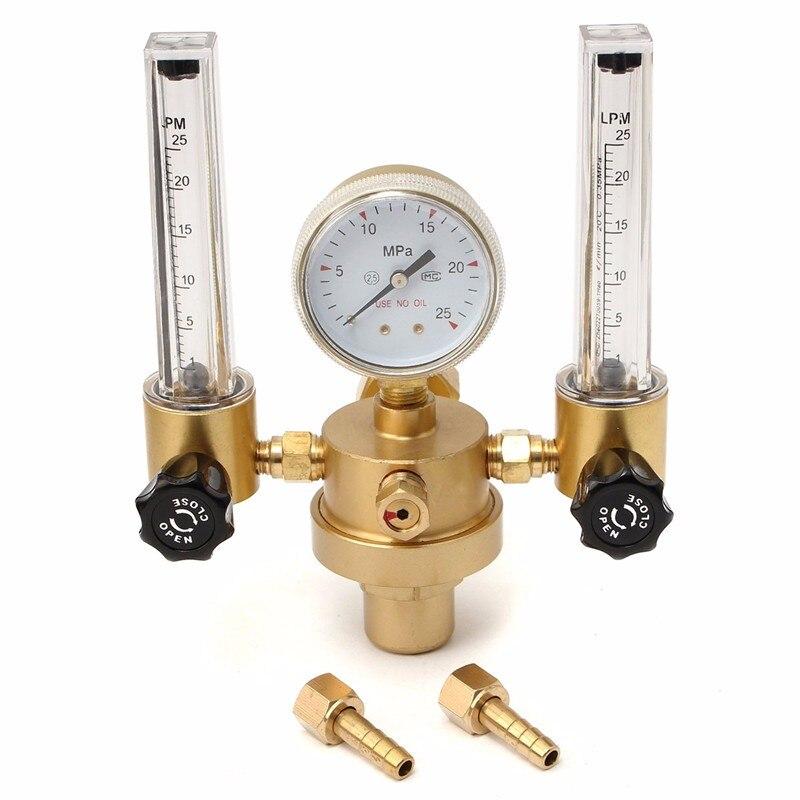 Argon Co2 Gauge Druckregler Mig Tig Flow Meter Steuerung Ventil Schweißen Gas Doppel Rohr Blase Zähler Aquarium Durchflussmesser