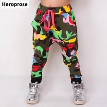 Heroprose New Childrens 2018 Spring Summer Hip Hop Dance Harem camouflage Leisure Sports kids Boys Big Crotch Skinny Pants