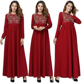 4e0f066a0b Mujer vestido largo vestido musulmán bordado estilo étnico Maxi túnica árabe  Jilbab islámica vestido Turquía Jilbab ropa vestido de Kimono