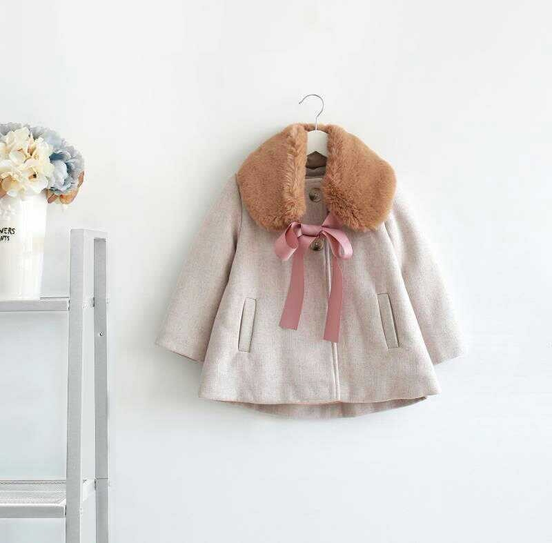 winter jackets girl coats woolen fur collar baby girl coat outerwear kids clothes boutiques Children clothing