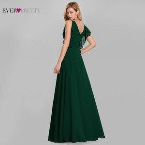 Image 3 - ElegantชุดราตรียาวPretty O Neck A Line Ruffles Darkสีเขียวผู้หญิงVintageชุดชีฟอง 2020