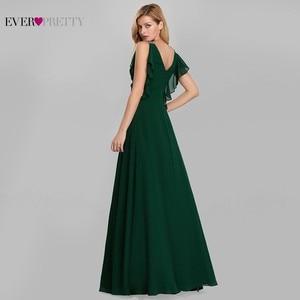 Image 3 - Zarif abiye uzun hiç Pretty o boyun A Line kolsuz Ruffles koyu yeşil kadın Vintage şifon parti elbiseler 2020