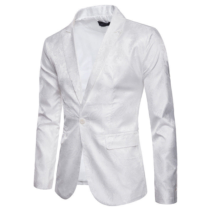 5731c0f15 Men Casual Slim Fit White Suit Blazers Jacquard blazer Man casual work  Formal One Button Suit Jacket Top Outwear Sale coats Male